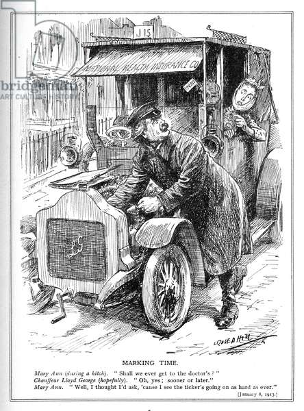 Lloyd George is delayed taking a patient to the doctor under his National Health Insurance Act, 1913 (litho)