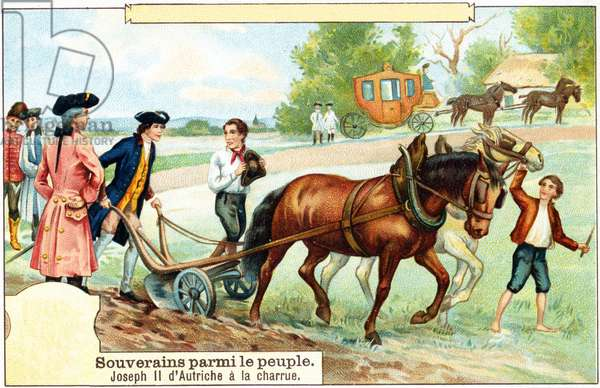 Joseph II ploughing the field near Slawikowitz in southern Moravia on August 19, 1769 (colour lithograph)