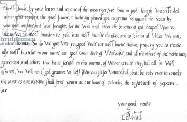 Letter from King Edward VI at the age of 9 to his uncle, Edward Seymour, congratulating him on the victory over the Scots at the battle of Pinkie on 10 September, 1547, written at Oatlands Palace, 18 September, 1547 (pen & ink on paper)