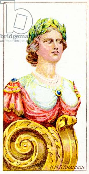 Figurehead of H.M.S. Shannon, 1912 (colour litho)