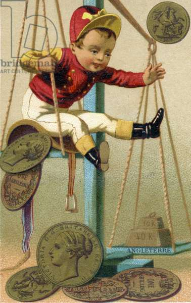 English jockey being weighed in with his saddle and British coinage, from a series of promotional cards on currencies in different countries, published in Paris by Baster & Vieillemard  for use by the chocolate producer, 'Chocolat Ibled', 1886-95 (colour litho)