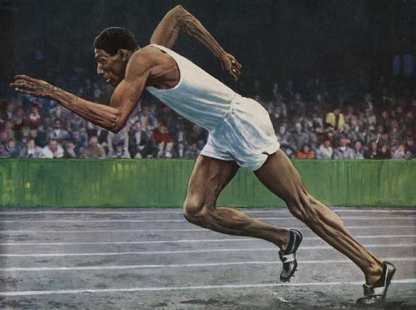 Arthur Wint of Jamaica winning the Gold Medal for the 400m. race at the 1948 London Olympic Games (colour litho)