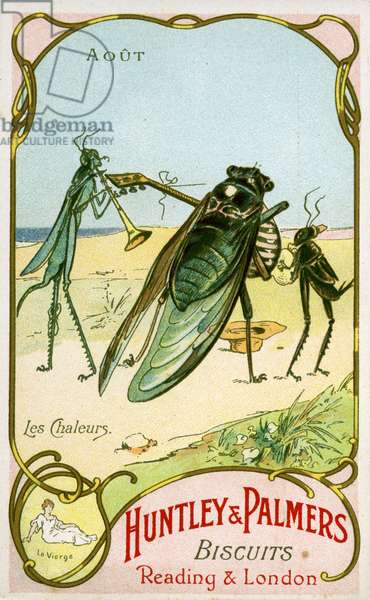August, Concert on the beach during the hot weather, Virgo, from a series of promotional cards on the months of the year, produced for the French market by Huntley and Palmers, c.1910 (colour litho)
