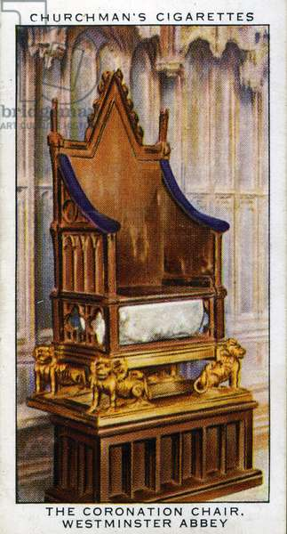 The Coronation Chair of Saint Edward in Westminster Abbey, 1937 (colour litho)