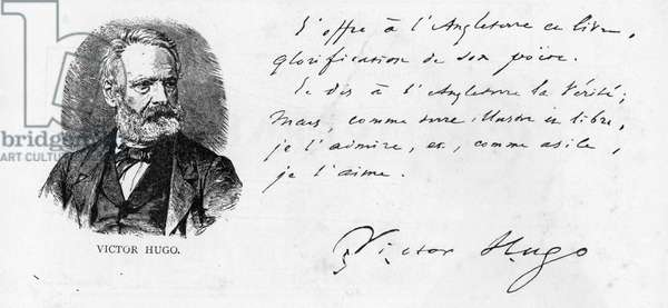 Victor Hugo's dedication to England of his book on Shakespeare, c.1864 (pen & ink on paper)