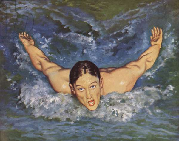 Joe Verdeur, Olympic 200 m. breast-stroke swimming Champion and winner of Gold Medal at the 1948 London Olympics (colour litho)