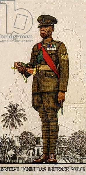 Sergeant-Drummer of the British Honduras Defence Force, 1938 (colour litho)