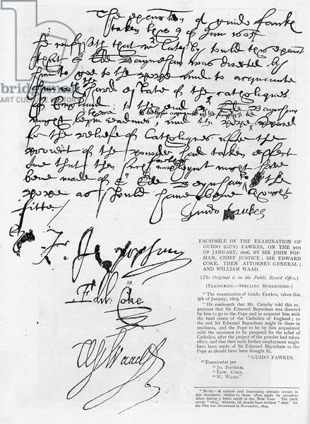 Facsimile of the examination of Guy Fawkes with his signature on 9th January 1606 by Sir John Popham, Sir Edward Coke and William Waad (litho)