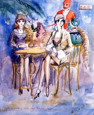 Girls in a Cafe (in the manner of Van Dongen) 1960 (w/c on paper)