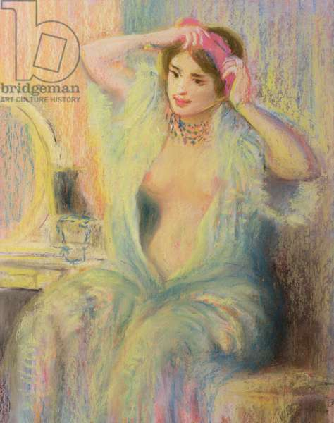 'Girl at her Toilet', in the manner of Pierre Auguste Renoir (1841-1919) (pastel on paper)