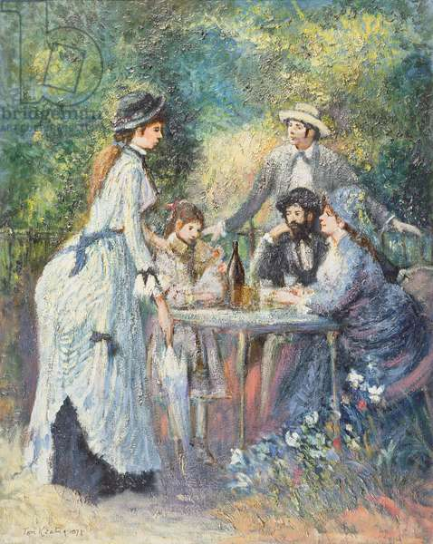 'Garden Scene', in the manner of Pierre Auguste Renoir (1841-1919) (oil on canvas)