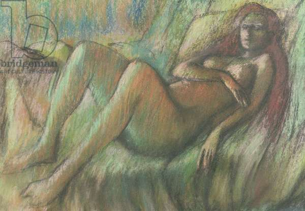 Nude Reclining on a Couch (in the manner of Degas) (pastel on pastel)