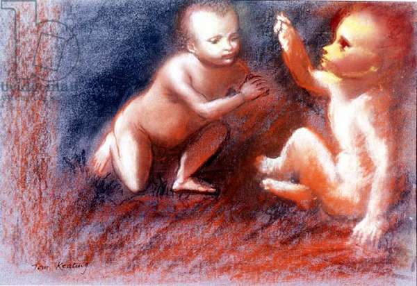 Two Boys Playing (in the manner of Carracci), (pastel on paper)