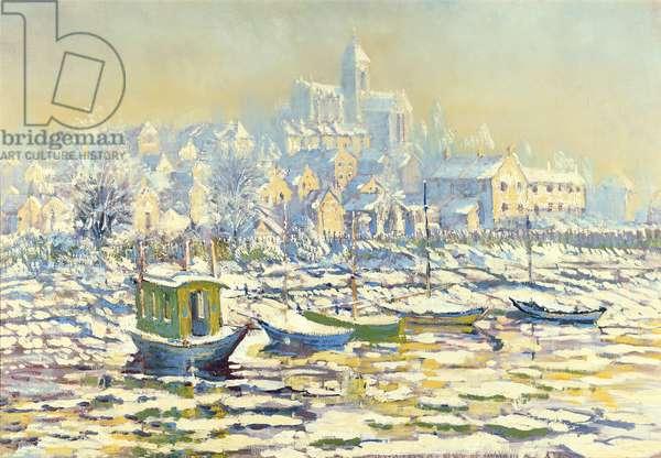 Monet's Houseboat, Vetheuil in Winter (in the manner of Monet)