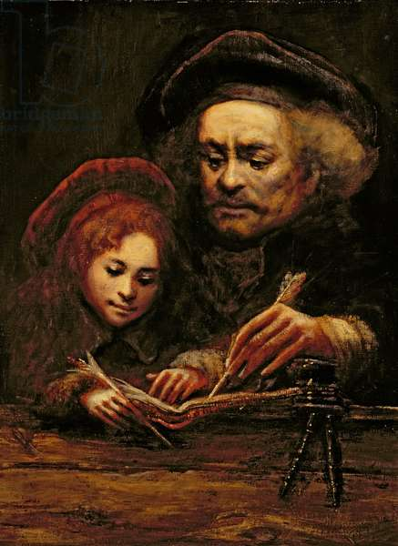 The Artist as Rembrandt with Titus (in the manner of Rembrandt) (oil on canvas)