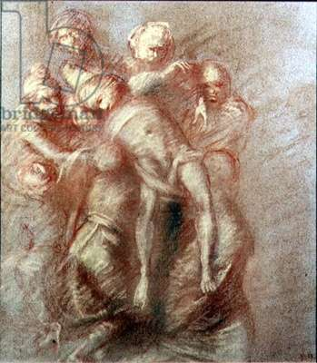 The Deposition (in the manner of Michelangelo) (pastel on paper)