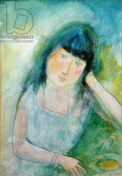 'Half Length Portrait of a Girl', in the manner of Marie Laurencin (1883-1956) (w/c on paper)