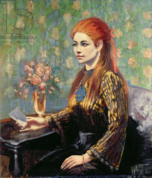 Red-haired Girl Sitting at a Table (in the manner of Renoir)