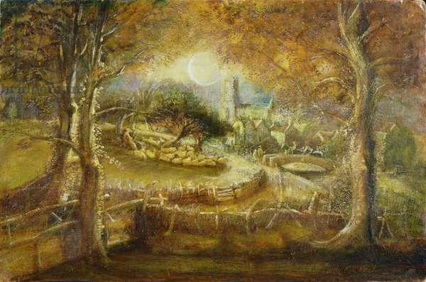 'Shoreham, Kent, in Moonlight', in the manner of Samuel Palmer (1805-81) (oil on canvas)