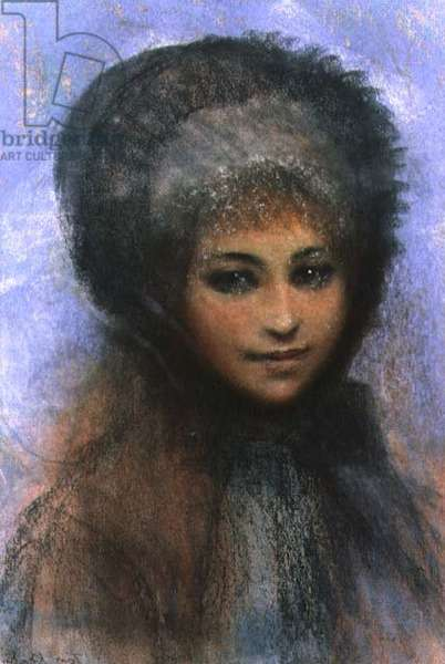 Girl in a Black Bonnet (in the manner of Renoir) (pastel on paper)