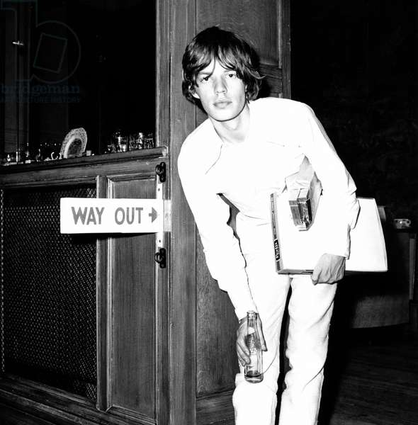 Mick Jagger during a break at an outdoor concert at Longleat House, Wiltshire, August 1964