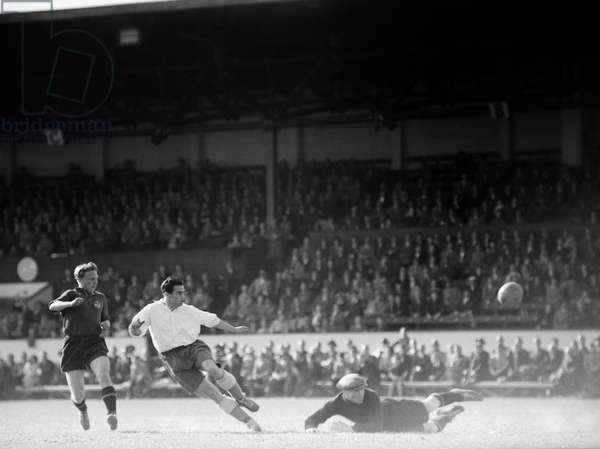 Switzerland Soccer Friendly, 1953 (b/w photo)