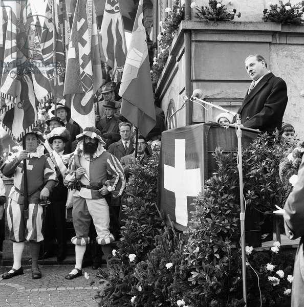 Switzerland Federal Ludwig Von Moos, 1967 (b/w photo)