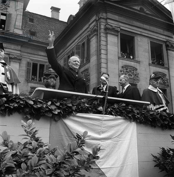 Switzerland Winston Churchill (b/w photo)