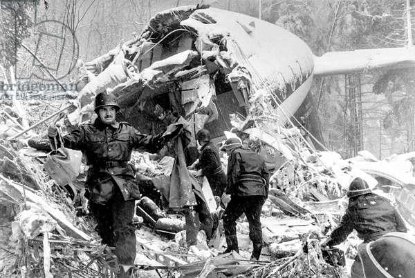 Switzerland Plane Crash Hochwald, 1973 (b/w photo)