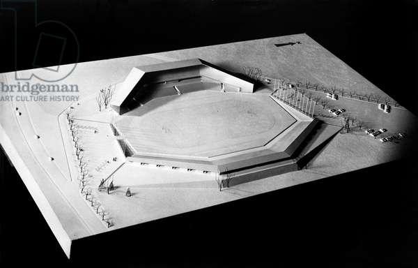 Switzerland Soccer Stadium Zurich Letzigrund, 1952 (b/w photo)