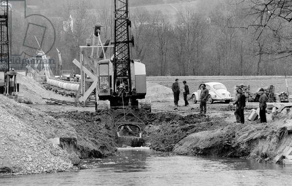 Switzerland Natural Gas Transit Line, 1973 (b/w photo)