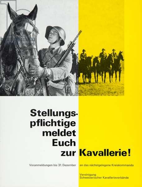 Switzerland Poster Cavalry (b/w photo)