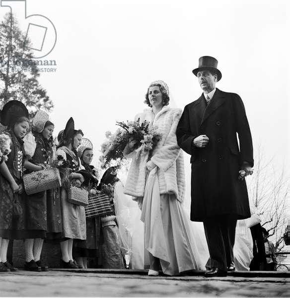 Liechtenstein Wedding Gina And Franz Josef II., 1943 (b/w photo)