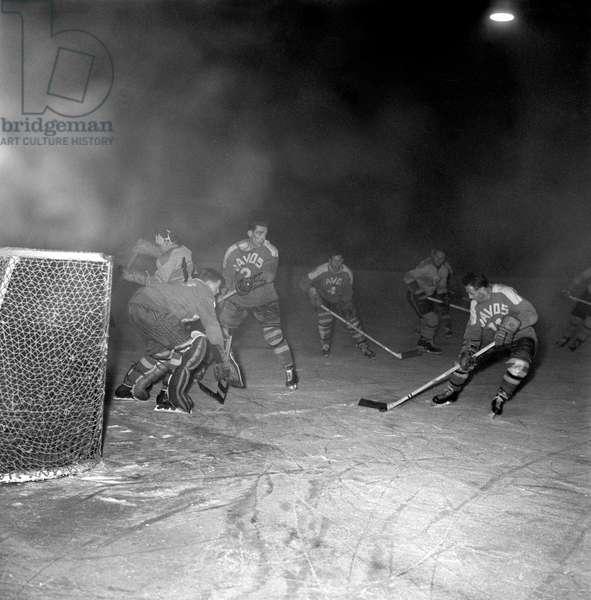 Spengler Cup, 1959 Acbb Boulogne-Billancourt Hc Davos (b/w photo)