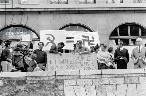 A sympathy rally for the Prague Spring and against the military intervention of the Soviet Union on August 23, 1968 in Geneva, Switzerland, (b/w photo)