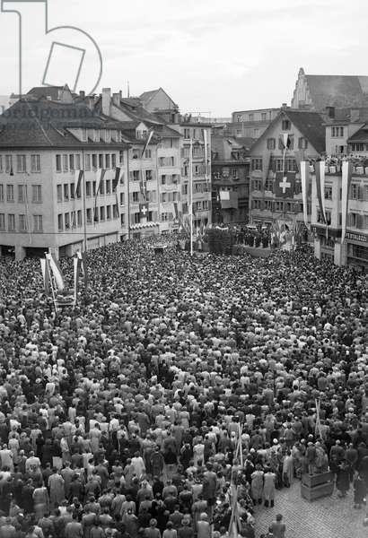 Switzerland Winston Churchill, 1946 (b/w photo)