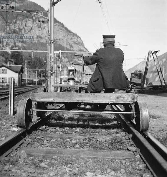 Switzerland Gotthard Streckenwaerter, 1937 (b/w photo)