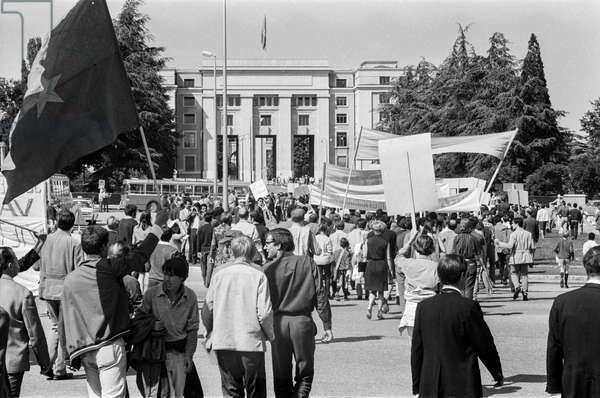 Several hundred people demonstrated against the Vietnam War on June 22, 1968 in Geneva, Switzerland, (b/w photo)