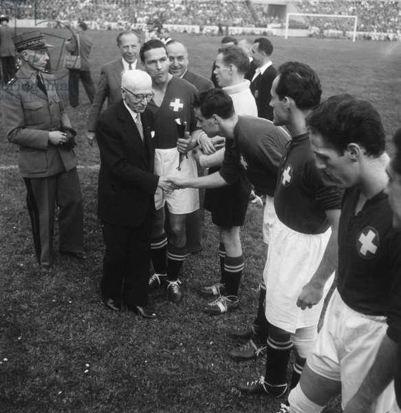 Switzerland Stadium St.Jakob, 1954 (b/w photo)