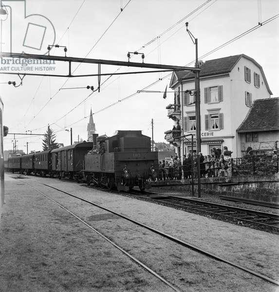 Switzerland Railway Electrification, 1944 (b/w photo)