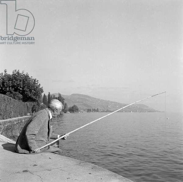Switzerland Henri Guisan Fishing, 1954 (b/w photo)