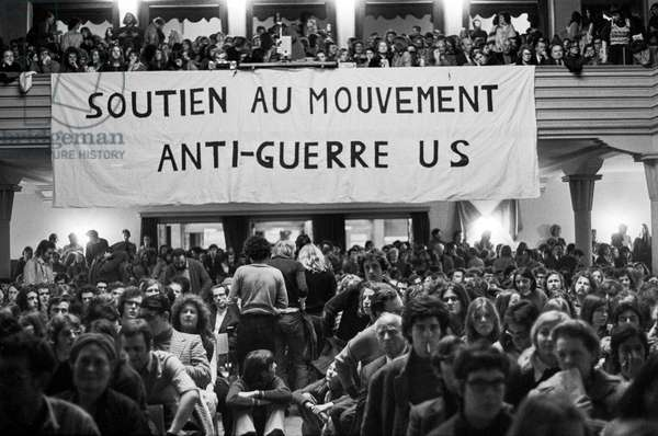 The meeting in the Volkshaus at the demonstration against the Vietnam War on April 22, 1972 in Zurich, Switzerland, (b/w photo)
