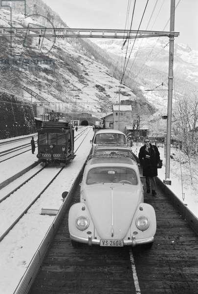 Switzerland Lötschberg Car-Train, 1967 (b/w photo)