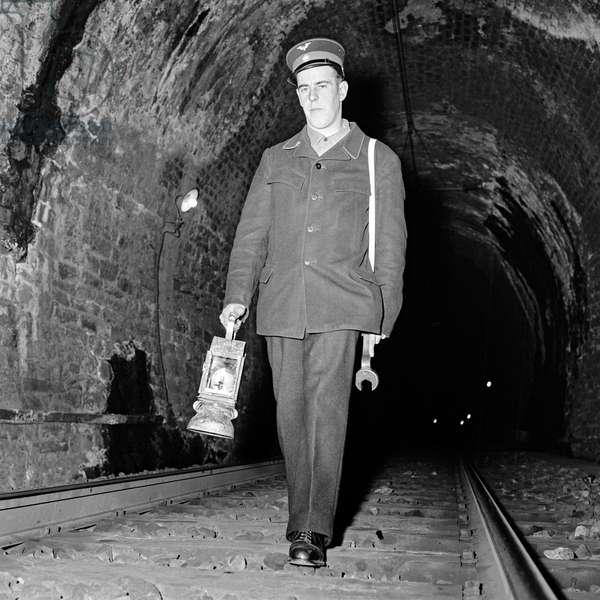 Switzerland Simplon Tunnel, 1956 (b/w photo)
