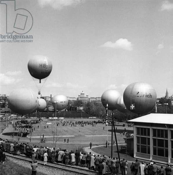 Switzerland Balloon Ride, 1959 (b/w photo)