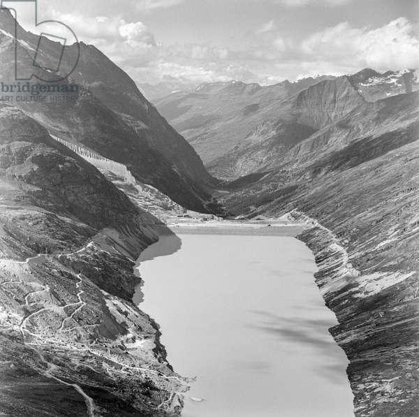 Switzerland Water Power Mattmark, 1966 (b/w photo)