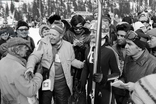 Alpine Skiing World Cup Val Gardena, 1970 (b/w photo)