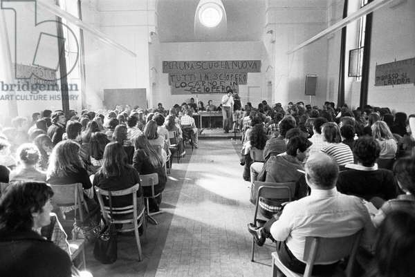 Switzerland Strike Teacher Seminar, 1977 (b/w photo)