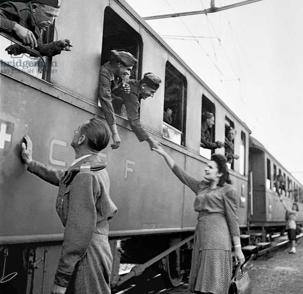 Switzerland Second World War Refugees Departure, 1945 (b/w photo)