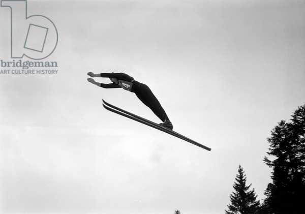 Switzerland Ski Jumper (b/w photo)